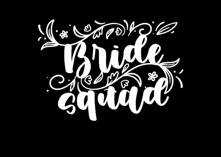 """Bride squad"" felirat (fehér)"
